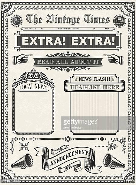 ilustrações, clipart, desenhos animados e ícones de vintage jornal - jornal