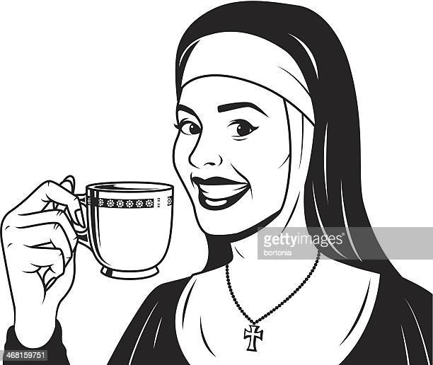 Vintage Nun with Coffee