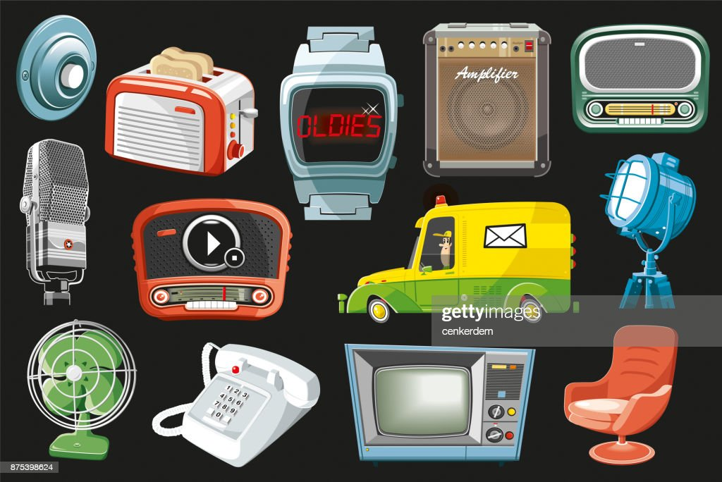 Vintage objects set (vector) : stock illustration
