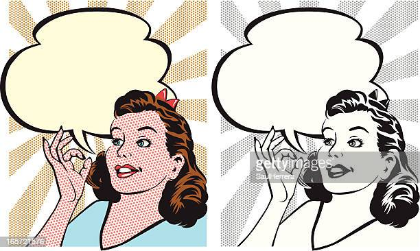 vintage ok woman - mid adult stock illustrations