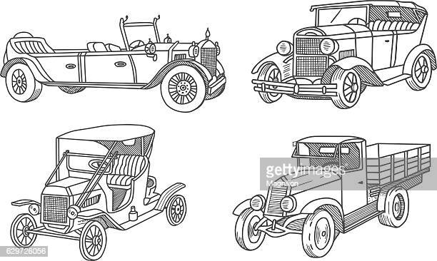 Vintage Old Car Doodles Set