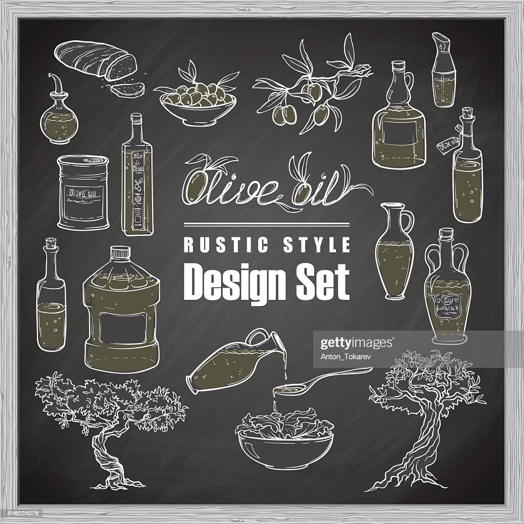 Vintage olive set. blackboard background