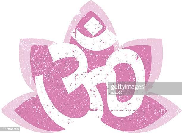 vintage om and lotus symbol - om symbol stock illustrations
