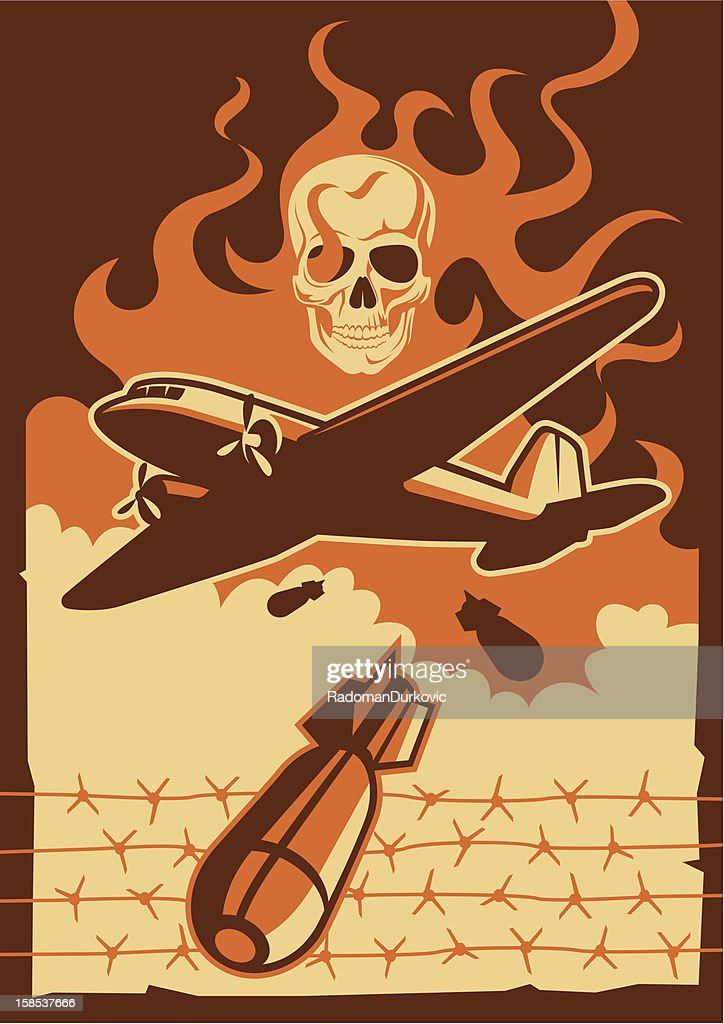 Vintage orange and brown military aircraft and bomb graphic