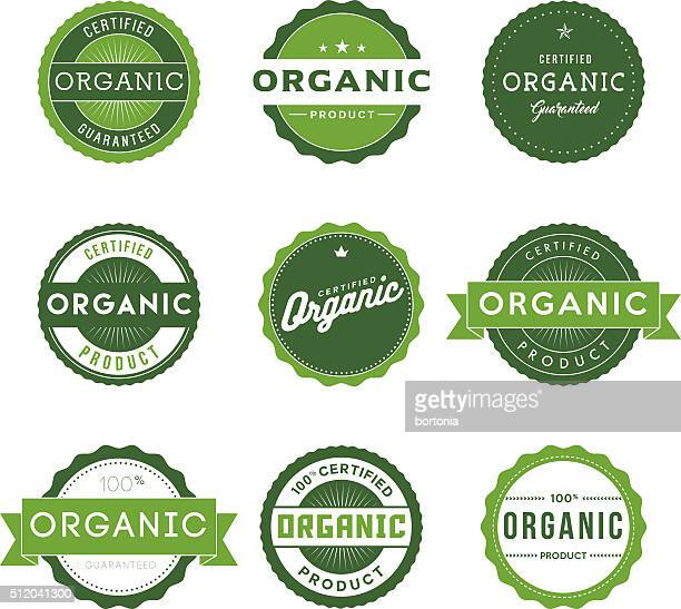 vintage organic food labels icon set - organic stock illustrations, clip art, cartoons, & icons