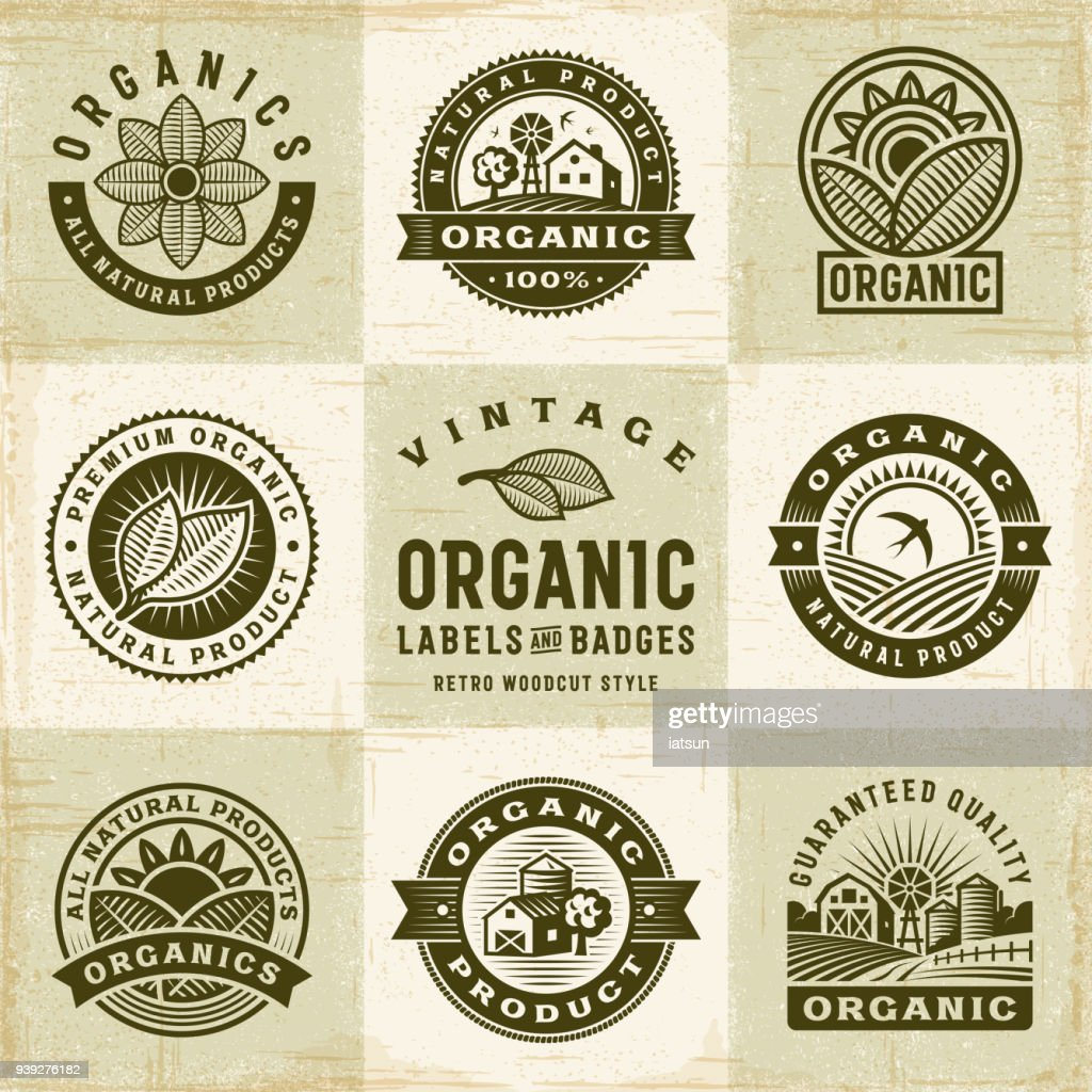 Vintage Organic Labels And Badges Set