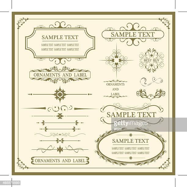 vintage ornaments and labels - wedding invitation stock illustrations, clip art, cartoons, & icons
