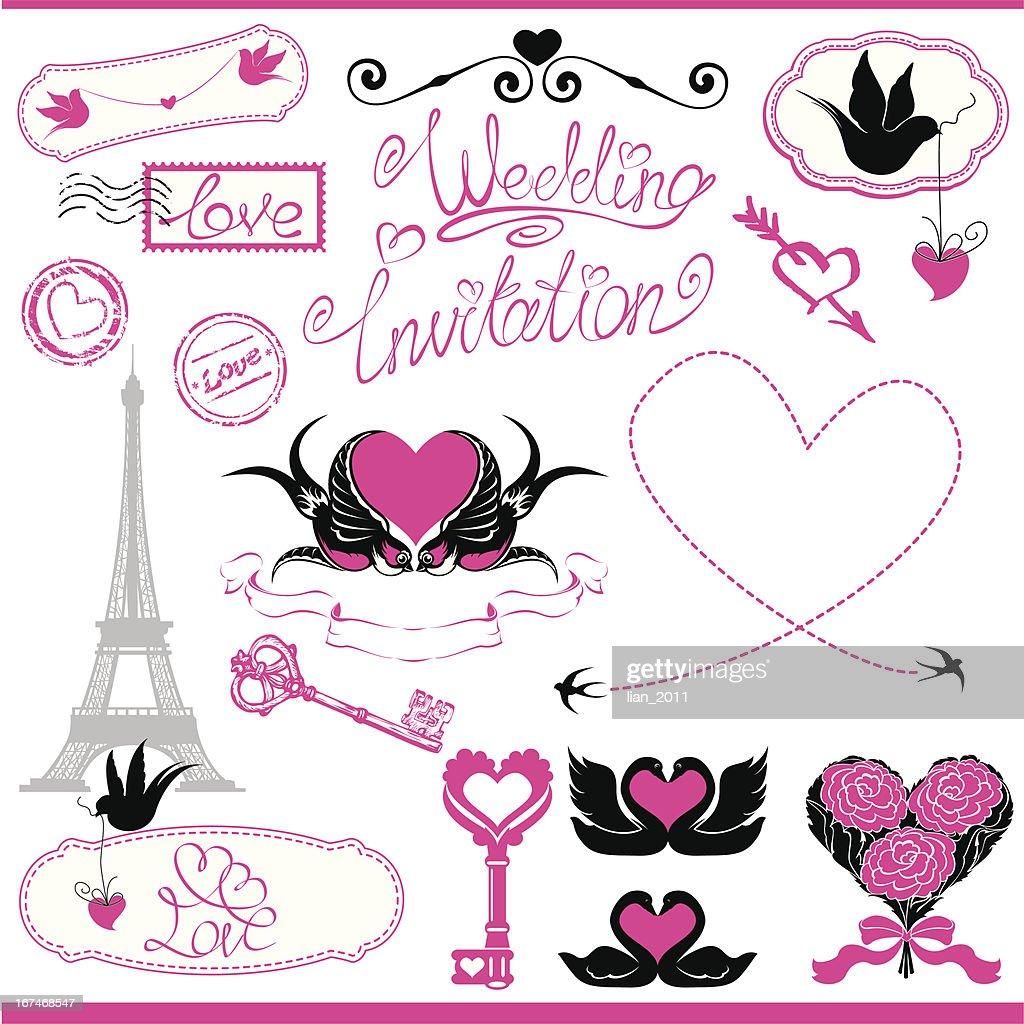 Vintage ornaments, calligraphic design elements for wedding invitation