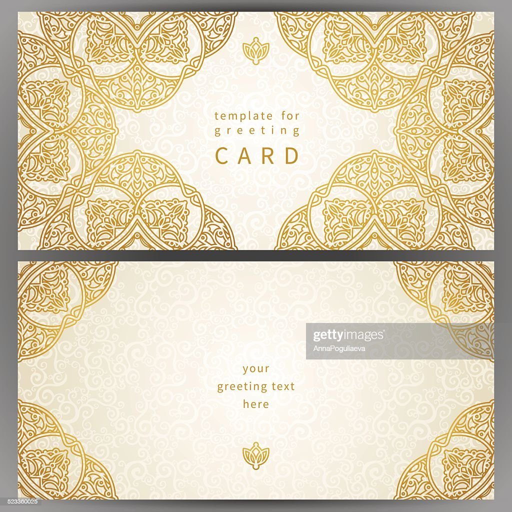 Vintage ornate cards in oriental style.