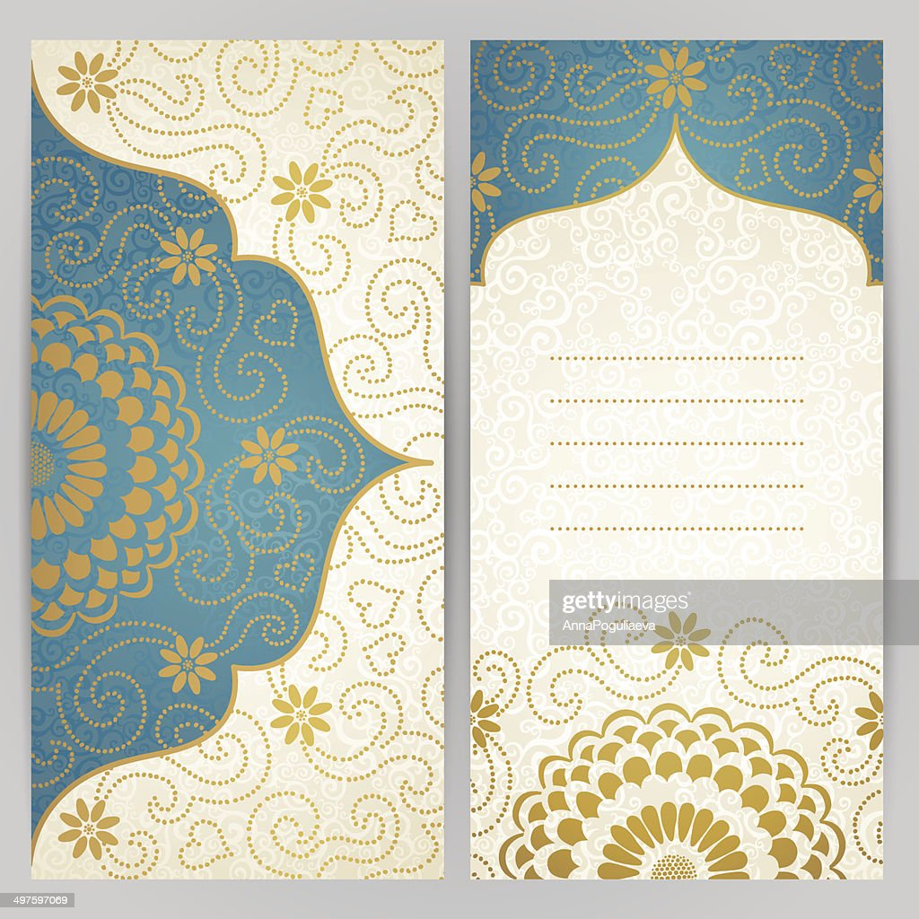 Vintage ornate cards with flowers and curls.