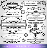Vintage Ornate Elements Design: Isolated borders, frames, scrolls, banners, corners and dividers for creative design