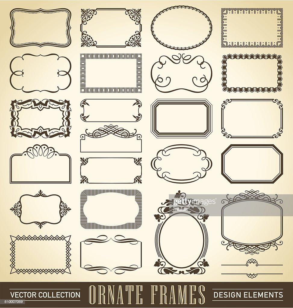vintage ornate frames set (vector)