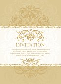 Vintage ornate invtation and label in east style