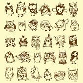 Vintage owl doodle collection on beige background
