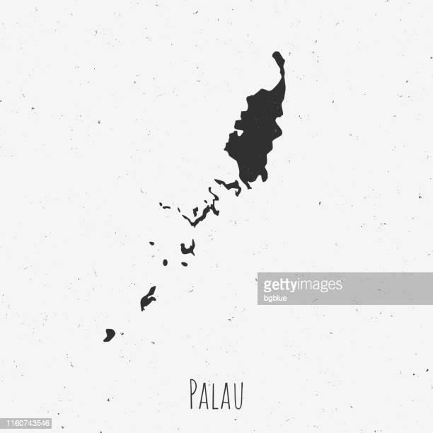 Vintage Palau map with retro style, on dusty white background