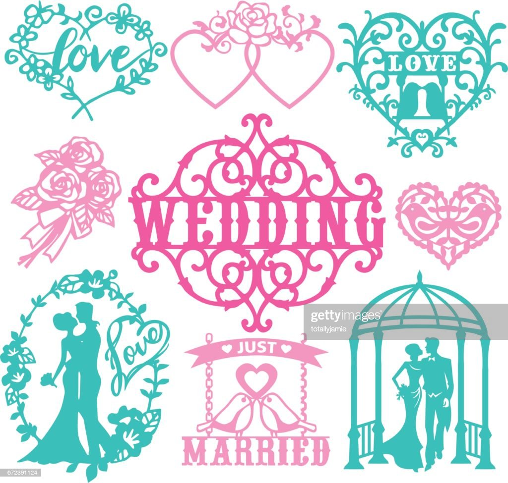 Vintage Paper Cut Wedding Theme Set