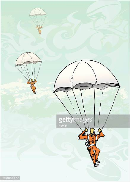 illustrations, cliparts, dessins animés et icônes de parachute vintage - saut en parachute