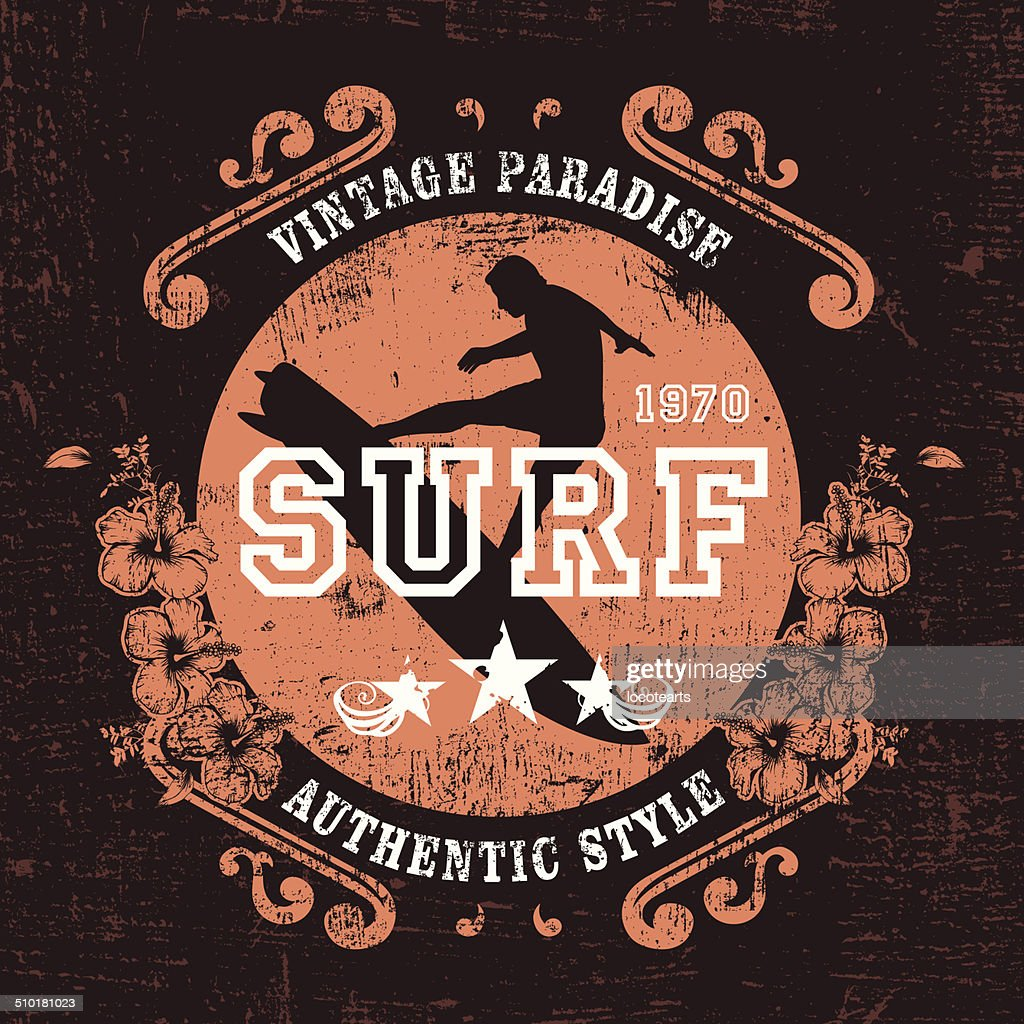 vintage paradise surf shield with rider