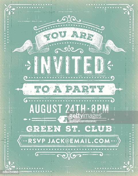 vintage party invitation - retro style stock illustrations