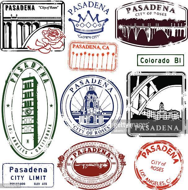 illustrations, cliparts, dessins animés et icônes de timbres vintage de pasadena - pasadena
