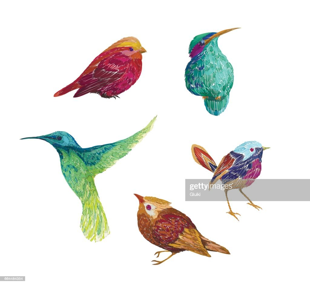 Vintage pattern birds, isolated on background.