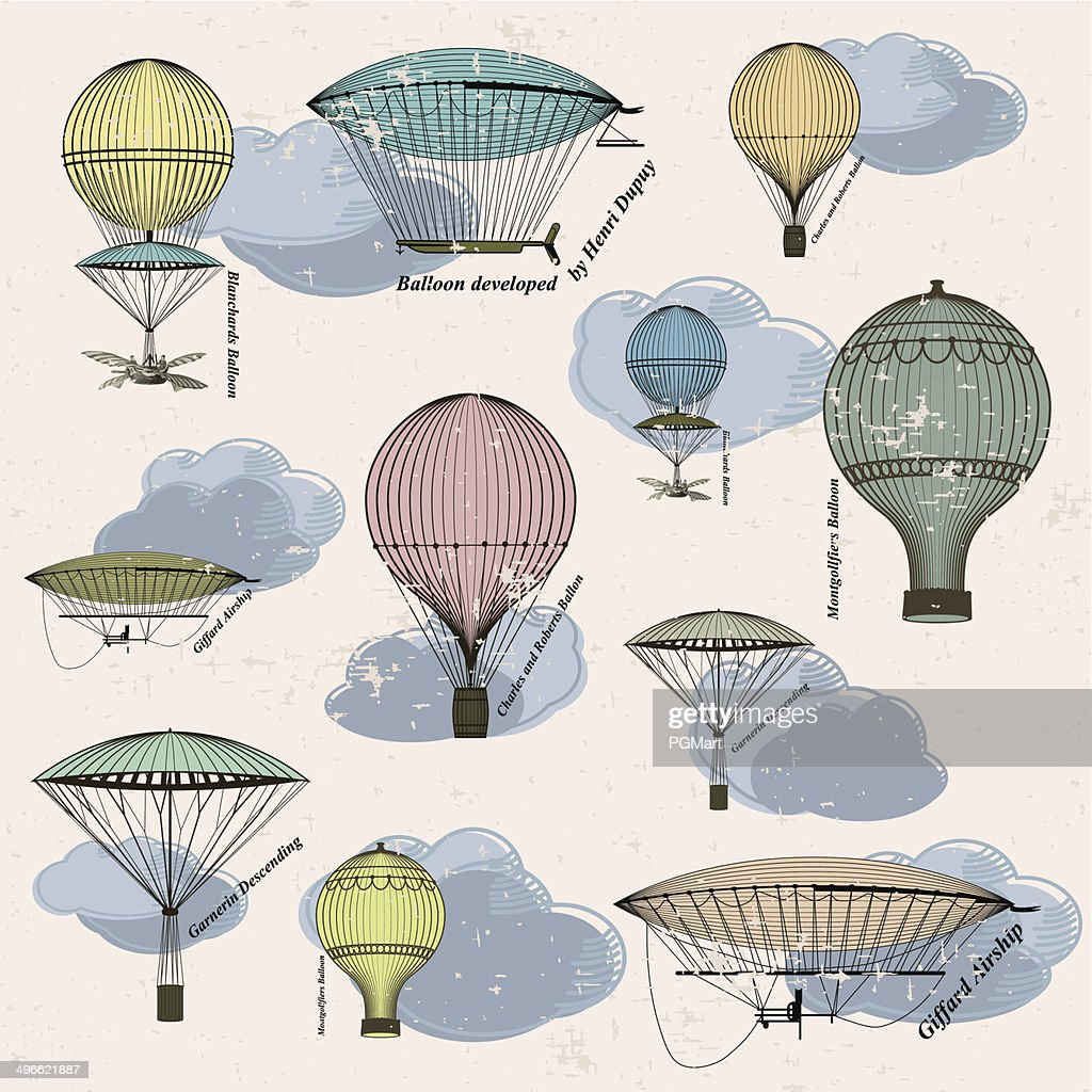 Vintage pattern of hot air balloons and airships