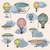 Vintage pattern of hot air balloons and airships
