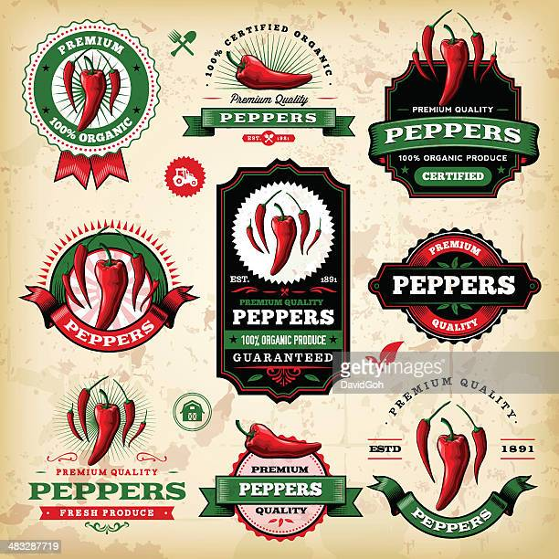 vintage peppers labels - pepper vegetable stock illustrations