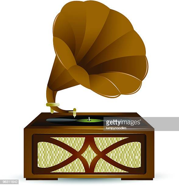 vintage phonograph - gramophone stock illustrations, clip art, cartoons, & icons