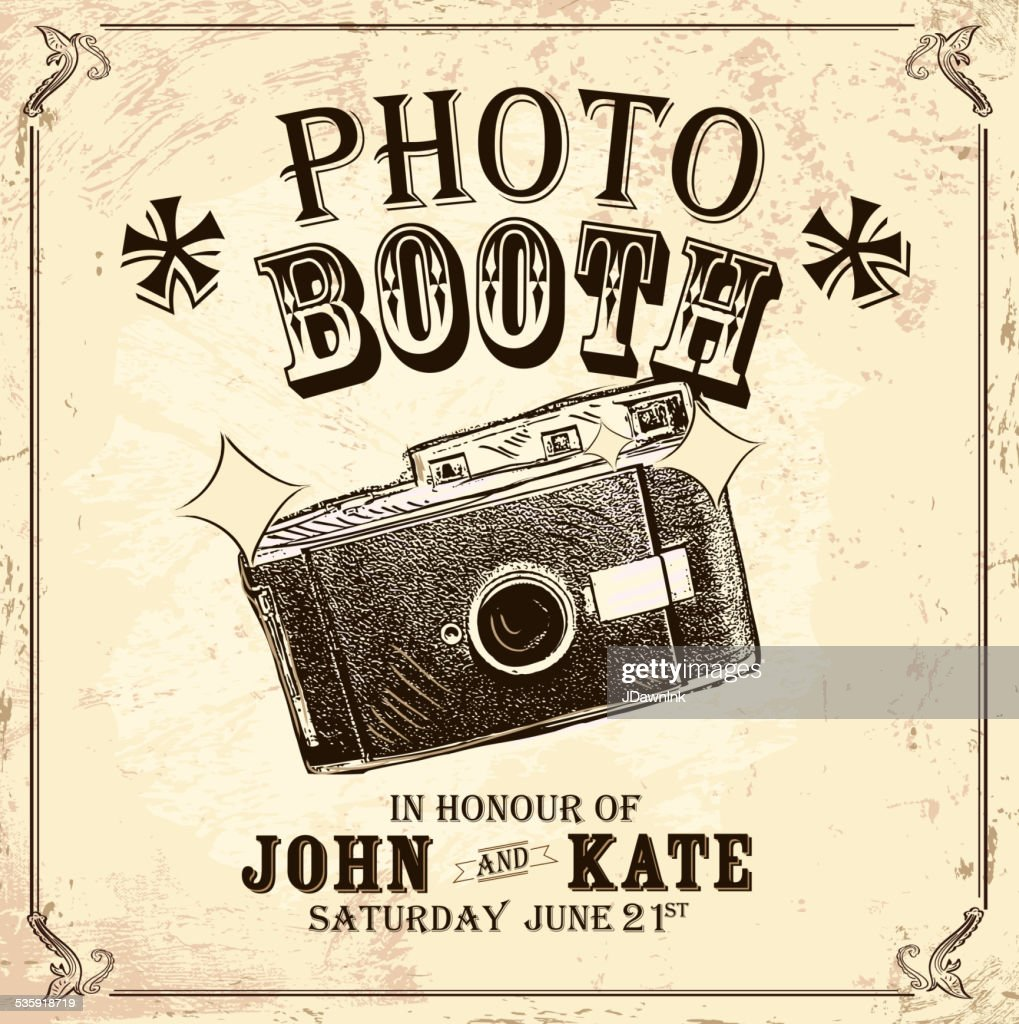 Vintage Photo booth design template on antique background