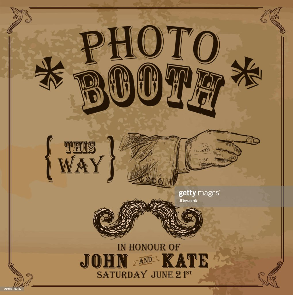 Vintage Photo booth design template with pointing hand : Vector Art