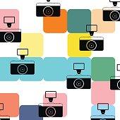 Vintage photo camera pattern background color colorful
