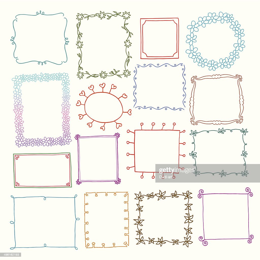 Vintage photo frames set, doodle style