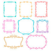 Vintage photo frames set, Spring and Summer theme, drawing doodle style, floral  ornamental and cute photo colored frames for decoration and design