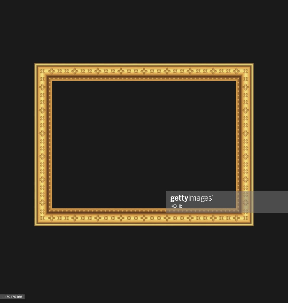 black and gold frame png. Vintage Picture Frame Isolated On Black Background And Gold Png G