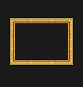 Vintage picture frame isolated on black background
