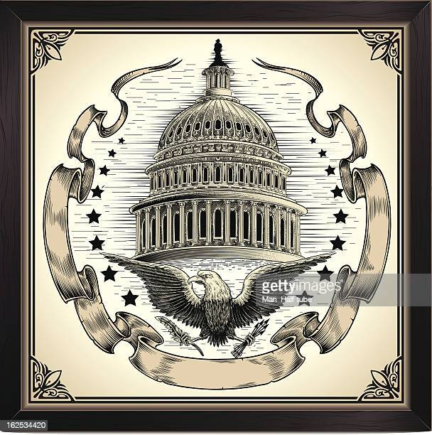 vintage picture of u s capitol dome - president stock illustrations, clip art, cartoons, & icons