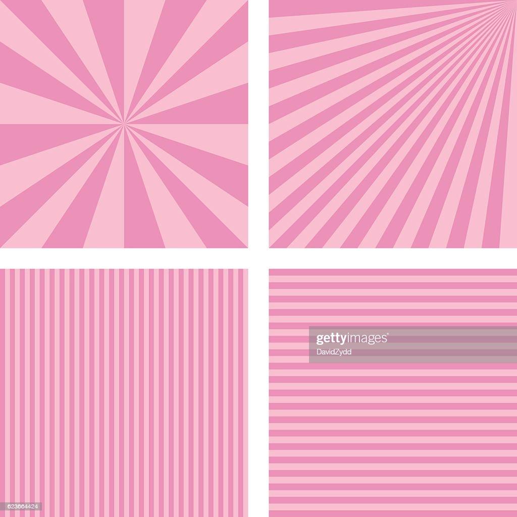 Vintage pink simple striped background set