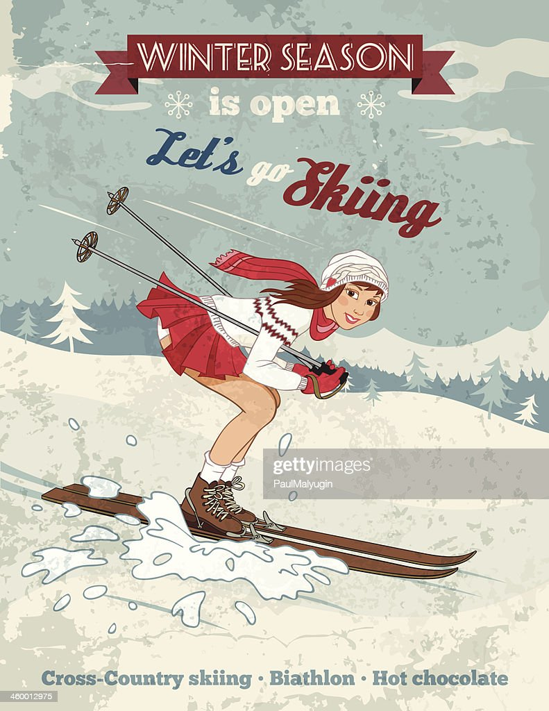 Vintage pin-up girl skiing poster