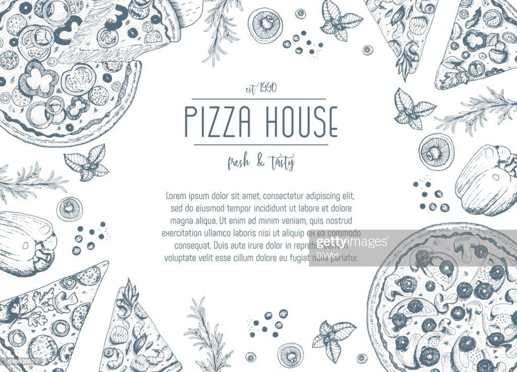 Vintage pizza frame vector illustration.