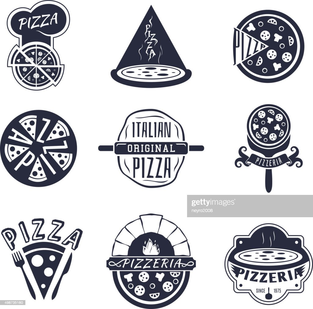 Vintage pizzeria labels, logos and emblems vector set