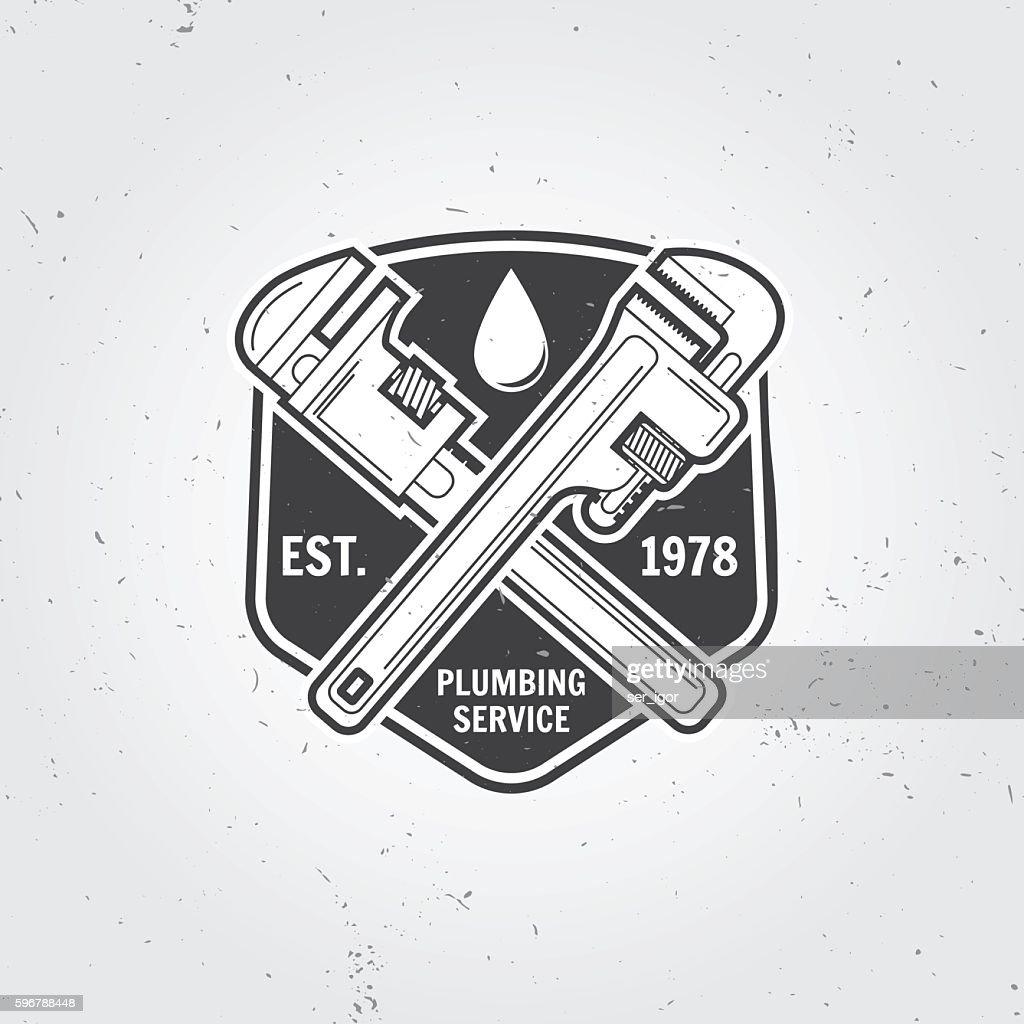 Vintage Plumbing Service Badge Banner Or Logo Emblem Vector Art ...