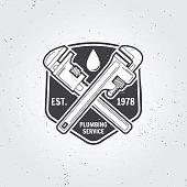 Vintage plumbing service badge, banner or logo emblem.