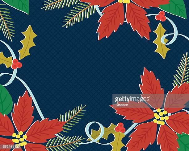 ilustraciones, imágenes clip art, dibujos animados e iconos de stock de vintage poinsettias - flor de pascua