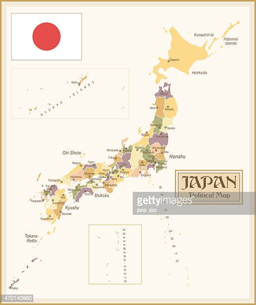 a vintage political map of japan - hokkaido stock illustrations, clip art, cartoons, & icons
