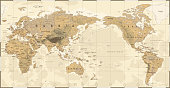 Vintage Political Physical Topographic World Map Pacific Centered