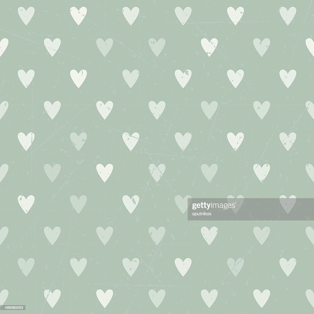 Vintage polka heart seamless background