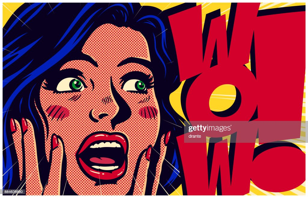 Vintage pop art style surpised and excited comic girl saying wow vector illustration