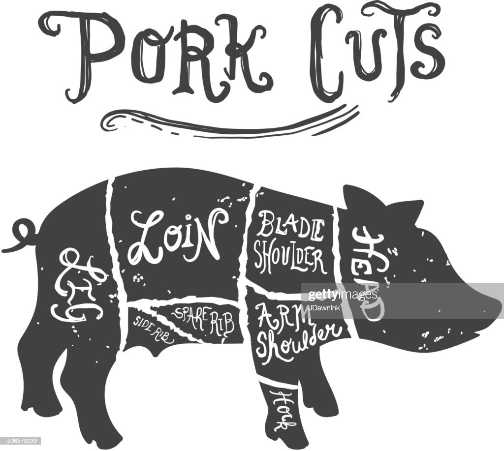 Vintage Pork Cuts Butcher Diagram Vector Art | Getty Images