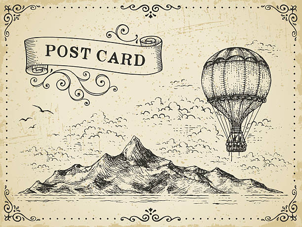 vintage post card - pencil drawing stock illustrations